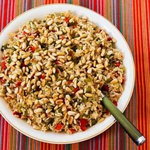 Red and Green Christmas Rice with Bell Peppers, Parmesan, and Pine Nuts