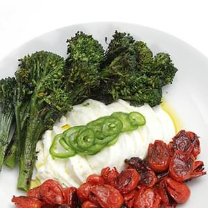 Charred Broccolini With Buffalo Mozzarella, Honey-roasted Grape Tomatoes And Shaved Jalapeños
