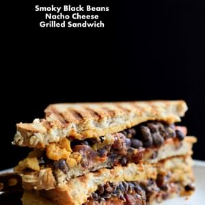Smoky Black Bean Nacho Cheese Sandwich. Vegan