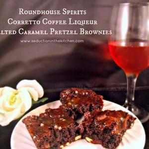 Roundhouse Spirits Corretto Coffee Liqueur Salted Caramel Pretzel Brownies