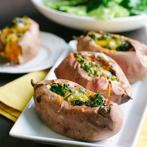 Broccoli Cheese Stuffed Sweet Potatoes