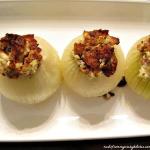 Bacon and Goat Cheese Stuffed Onions