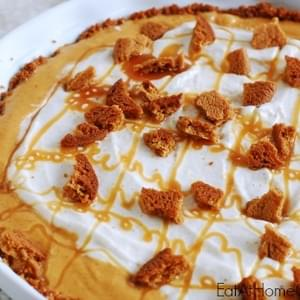Pumpkin Ice Cream Pie with a Ribbon of Salted Caramel and Gingersnap Crust