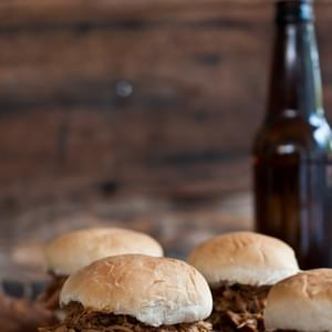 Slow Cooker Beer and Brown Sugar Pulled Chicken Sliders