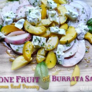 Stone Fruit and Burrata Salad with Lemon Basil Dressing