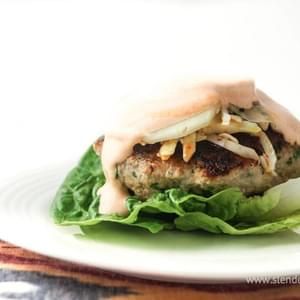 Asian Turkey Burgers with Sriracha Lime Yogurt Sauce