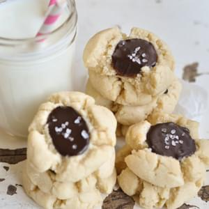 Salted Dark Chocolate Thumbprint Cookies