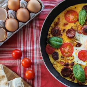 Frittata With Red Capsicum, Chorizo And Tomatoes