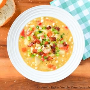 Cheddar Bacon Corn and Potato Chowder