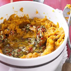 Sweet Potato Mash With Chilli, Ginger And Garlic Butter