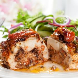 Mozzarella Mushroom and Sun-Dried Tomato Stuffed Chicken Breasts