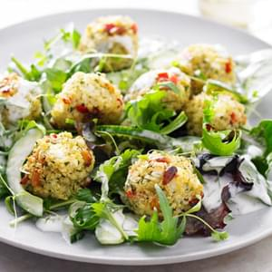 Feta And Pepper Quinoa Balls With Lemon And Dill Aïoli