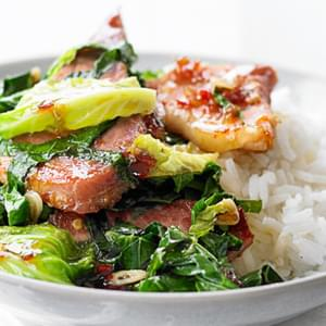 Stir-fried Greens With Sweet Chilli Ham