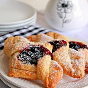 Eggless Danish Pastry Envelopes, Blueberry Jam Envelopes