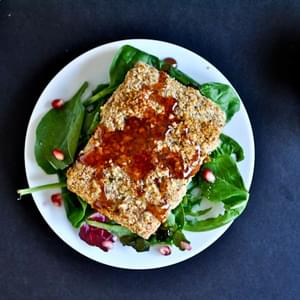Roasted Almond Crusted Salmon with a Pomegranate Glaze