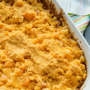Cheesy Butternut Squash and Ham Bake