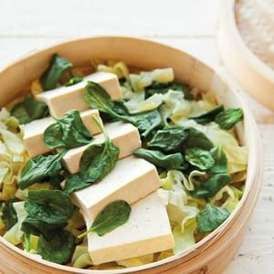 Steamed Tofu with  Greens & Peanut Sauce