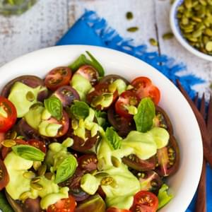 Heirloom Tomato Salad with a Creamy Avocado & Basil Dressing {gf+v+oil free}