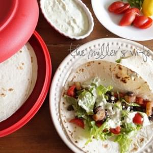 Black Bean and Potato Tacos with Basil Cream Sauce