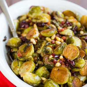 Brussels Sprouts with Pancetta, Cranberries & Pine Nuts
