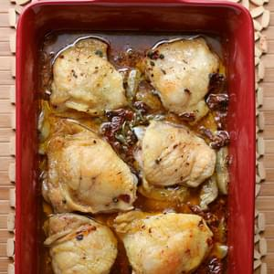 Oven-Braised Chicken with Artichokes, Sundried Tomatoes, Capers, and White Wine