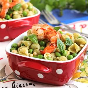 Pesto Pasta with Peas and Grilled Shrimp AND a Calphalon Giveaway