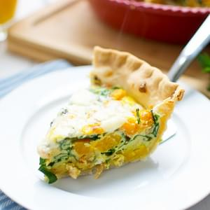 Butternut Squash, Spinach and Bacon Quiche
