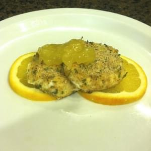Baked Goat Cheese Medallions with Orange Honey Sauce