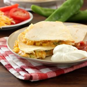 Roasted Hatch Chile and Sweet Corn Quesadillas
