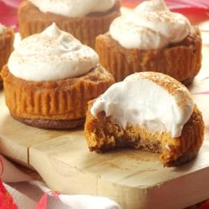 Mini Vegan Pumpkin Cheesecakes with Gingersnap Crusts