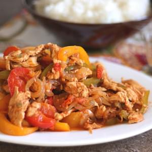 Not-So-Slow Cooked Chili Chicken Fajitas