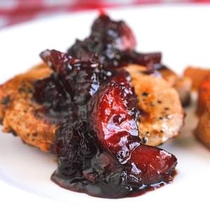 Blueberry Plum Chutney on Pan Seared Pork Chops