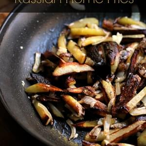 Russian Style Home Fries with Creamy Garlic Sauce…ЖАРЕНАЯ КАРТОШКА…25 Days of Holiday Treats