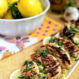 Grilled Lemon-Cumin Chicken with Charmoula Sauce Recipe