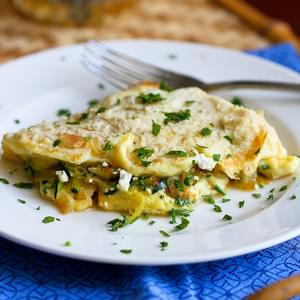 Zucchini, Onion and Feta Cheese Omelet