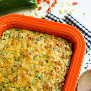 Cheesy Zucchini Noodles Bake with Roasted Corn and Red Pepper