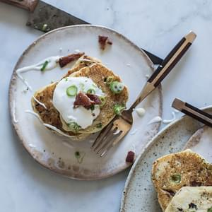 Bacon & Scallion Griddle Cakes With Maple Creme Fraiche