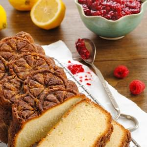 Lemon Pound Cake with Raspberry Compote
