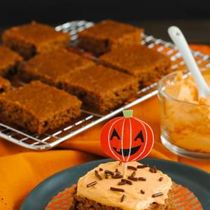 Spiced Applesauce Bars with Pumpkin Frosting