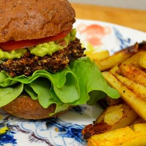 Vegan Black Bean Quinoa Burgers + Oven Fries