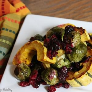 Roasted Brussels Sprouts, Delicata Squash, and Cranberries with Balsamic Syrup