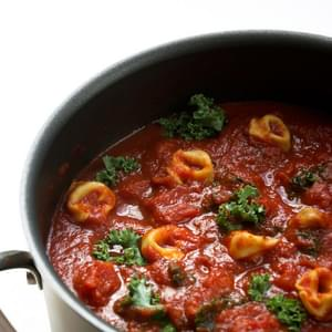 {15 minute} Kale and Tortellini Tomato Soup