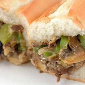 Philly Cheesesteak with Onions & Green Peppers