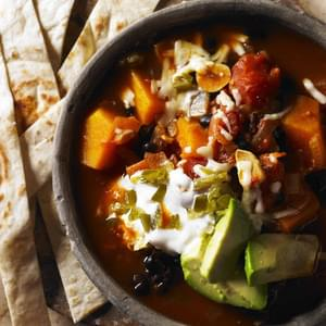 Butternut Squash Soup With Black Bean And Tortillas
