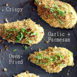 Crispy Garlic + Parmesan Oven-Fried Chicken