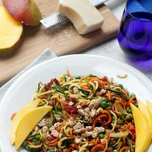 Pancetta and Sweet Pea Zucchini Noodles