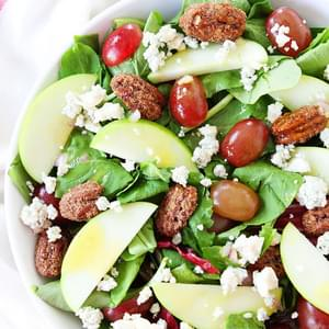 Apple, Grape, and Candied Pecan Salad with Maple-Mustard Dressing