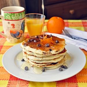 Chocolate Chip Buttermilk Pancakes with Orange Infused Syrup
