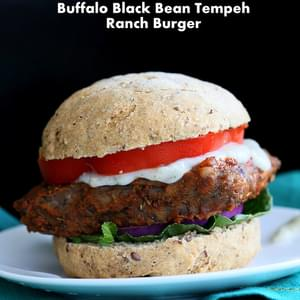Vegan Buffalo Tempeh Sandwich with Black Bean Tempeh And Celery Ranch. Soy-free