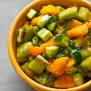 Kiwi, Mango, and Cucumber Salsa with Lime and Jalapeno